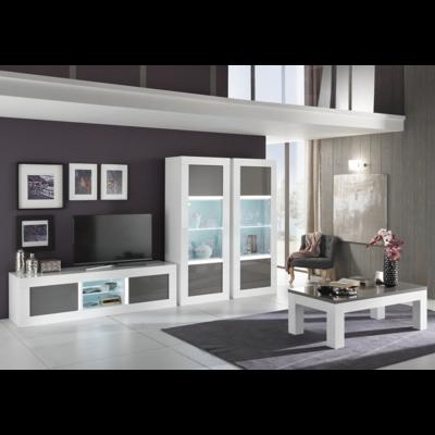 Vitrine meuble tv laqué blanc gris led NEOS
