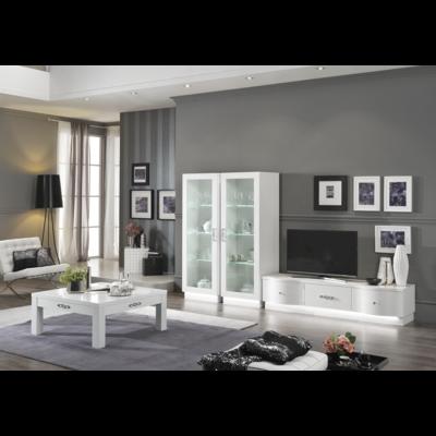 Vitrine meuble tv laqué blanc led ATHENA