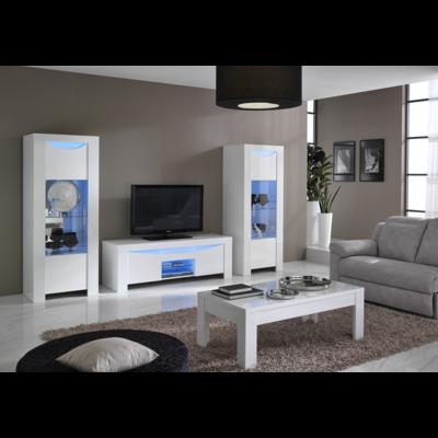 Vitrine meuble tv laqué blanc led ONDA