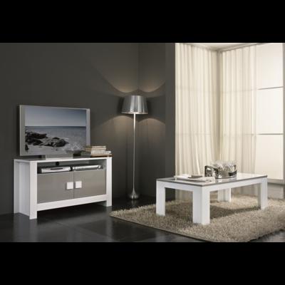 Meuble tv table basse laqué blanc gris PISA