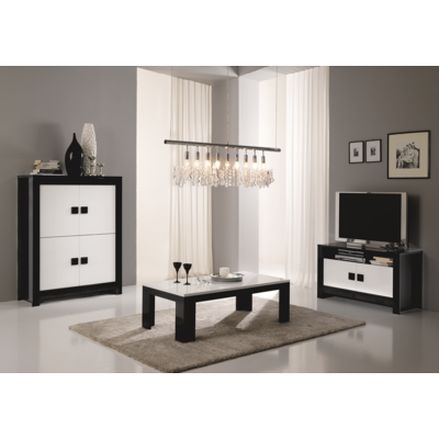 Bar meuble tv laqué noir blanc PISA