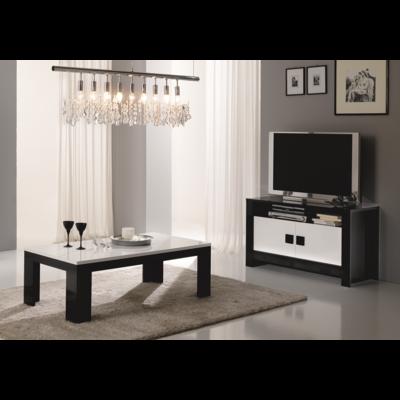 Meuble tv table basse laqué noir blanc PISA