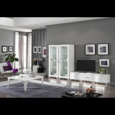 Vitrine meuble tv laqué blanc led ATHENA Crome