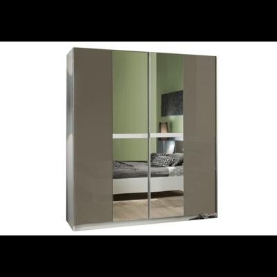 Armoire portes coulissante laqué blanc gris NIAGARA
