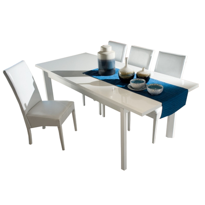 Ensemble table & chaise laqué blanc ATHENA