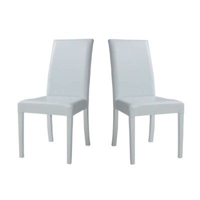 Lot 2 chaises simili blanc LILLE