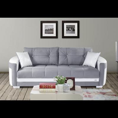 Canapé lit coffre tissu gris BALI