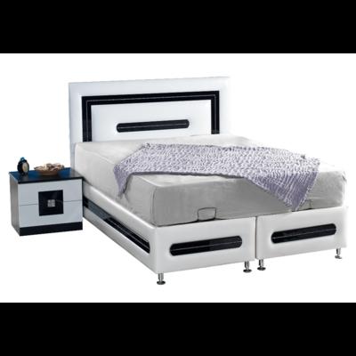 Lit coffre & tête de lit simili cuir blanc AZRA