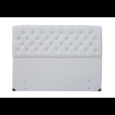 Tête de lit capitonné simili cuir blanc LUXE