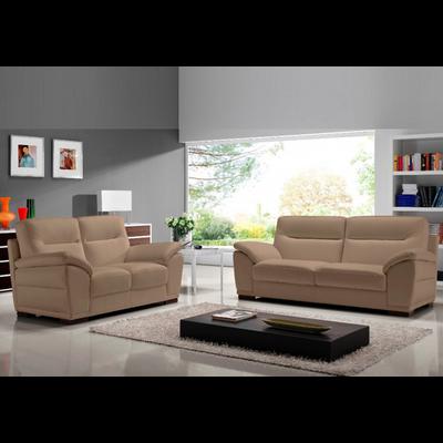 Canapé cuir design taupe CALINO