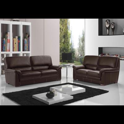 Canapé cuir design marron ANITA