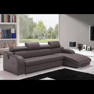 Canapé angle cuir gris têtières réglables AMELIE
