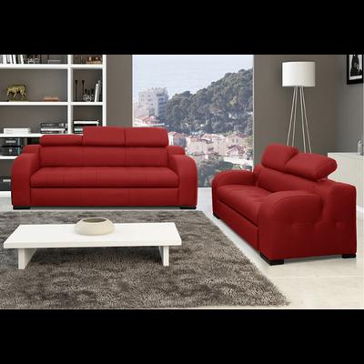 Canapé cuir rouge têtières réglables AMELIE