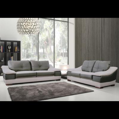 Canapé cuir beige gris design CARMAN