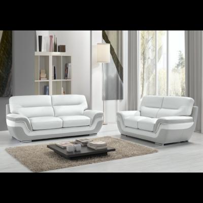 Canapé cuir blanc gris design CASSANDRA