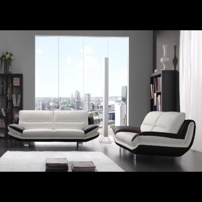 Canapé cuir design blanc noir BEA