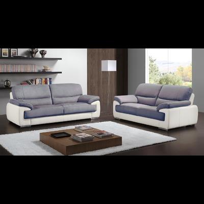Canapé cuir & microfibre gris ANNE