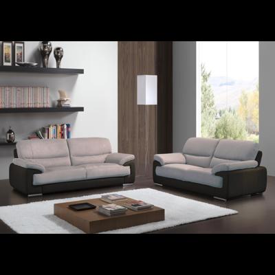 Canapé cuir microfibre noir gris ANNE