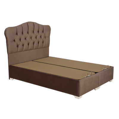 Lit coffre capitonné velours taupe ROYAL