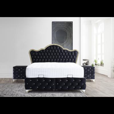 Lit coffre & tête de lit capitonnée noir VERSAILLES