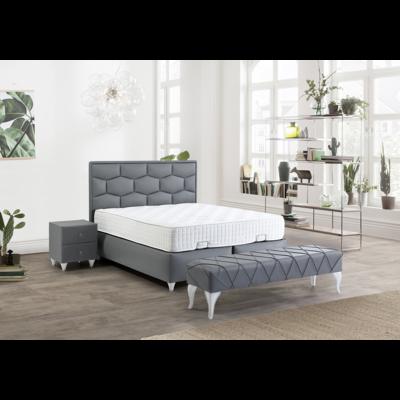 Lit coffre & tête de lit gris ZETA