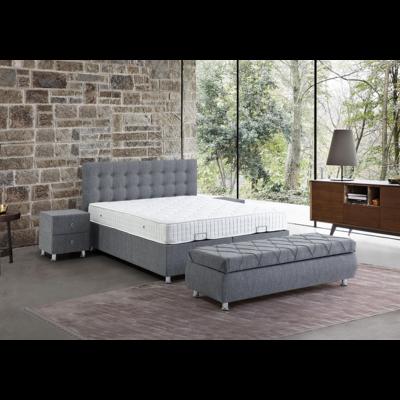 Lit coffre & tête de lit gris ANFORA