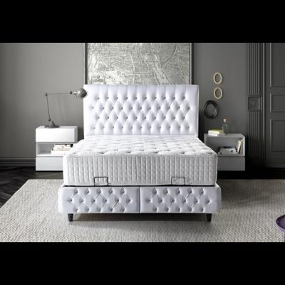 Lit coffre & tête de lit capitonné blanc PARADISE