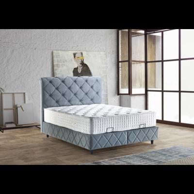 Lit coffre & tête de lit capitonné bleu PARIS