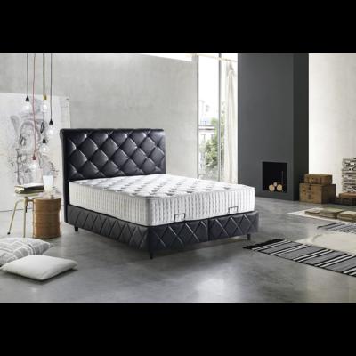 Lit coffre & tête de lit capitonné noir PARIS