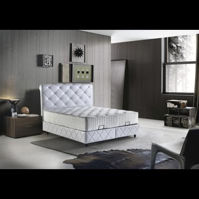 Lit coffre & tête de lit capitonné blanc PARIS