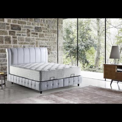 Lit coffre & tête de lit capitonné blanc ELEGANT
