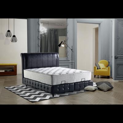 Lit coffre & tête de lit capitonné noir ELEGANT
