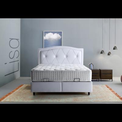 Lit coffre & tête de lit capitonné blanc LISA