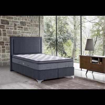 Lit coffre & tête de lit capitonné gris ARYA