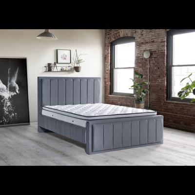 Lit coffre & tête de lit capitonné gris RAMON