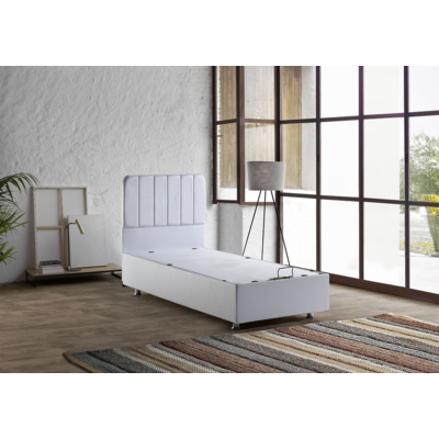 Lit coffre & tête de lit blanc MELLO