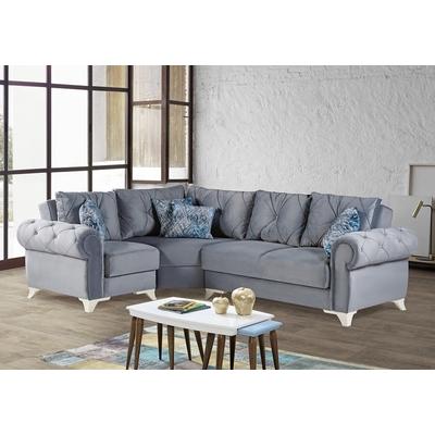 Canapé angle lit coffre gris BELLA