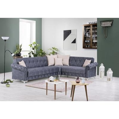 Canapé angle lit coffre gris EVA