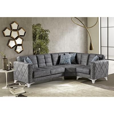 Canapé angle lit coffre gris MONTANA