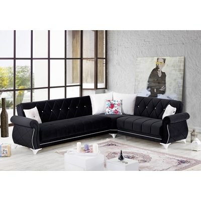 Canapé angle lit coffre noir OPERA