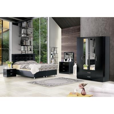 Chambre a coucher lit coffre noir PARIS