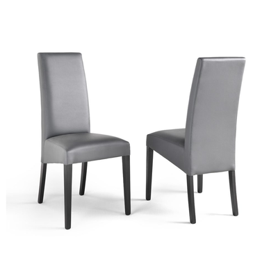 Lot 2 chaises simili gris ADRIA
