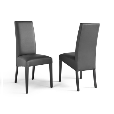 Lot 2 chaises simili noir ADRIA