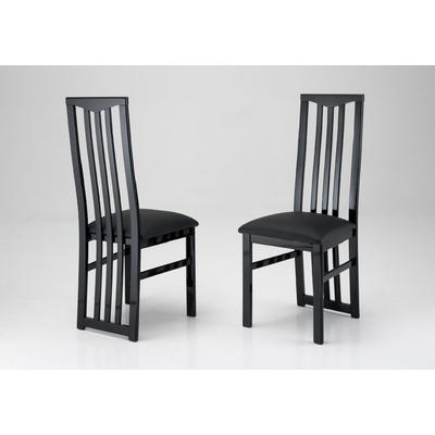 Lot 2 chaises laquées noir CX