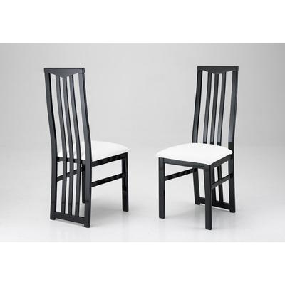 Lot 2 chaises laquées noir blanc CX