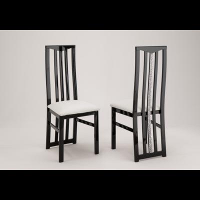 Lot 2 chaises laquées noir blanc CROMO