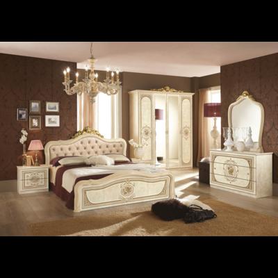 Chambre baroque laqué capitonné beige doré ALICE