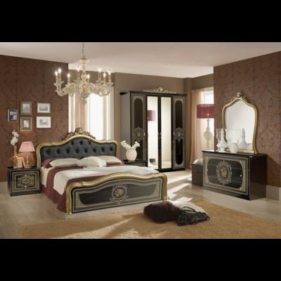 Chambre baroque laqué capitonné noir doré ALICE