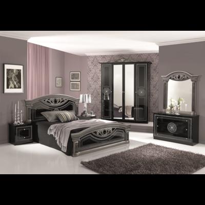 Chambre baroque laqué noir argent GIULIA