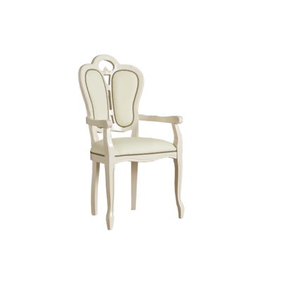 Chaise-fauteuil laqué beige GRETA